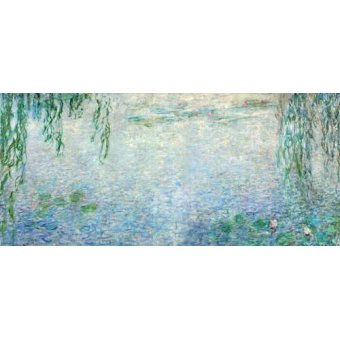 - Quadro -Waterlilies, Morning with Weeping Willows, (central section)- - Monet, Claude