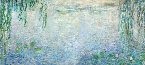 quadros-de-paisagens - Quadro -Waterlilies, Morning with Weeping Willows, (central section)- - Monet, Claude
