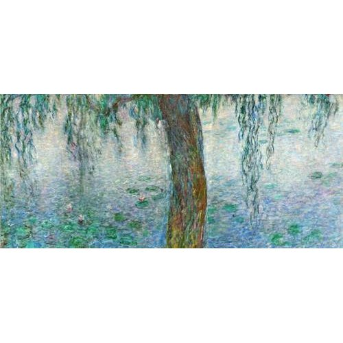 Quadro -Waterlilies, Morning with Weeping Willows, (right section)-