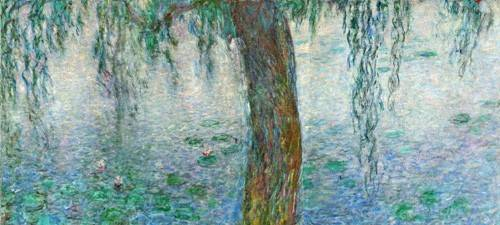 quadros-de-paisagens - Quadro -Waterlilies, Morning with Weeping Willows, (right section)- - Monet, Claude