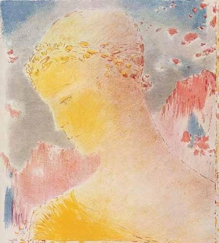 quadros decorativos - Quadro -Mujer dorada- - Redon, Odilon