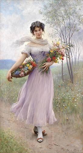 pinturas-de-retratos - Quadro -Spring Flowers- - Blaas, Eugen Von