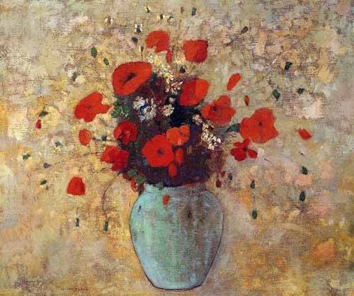 decorative paintings - Picture -Jarrón de amapolas- - Redon, Odilon