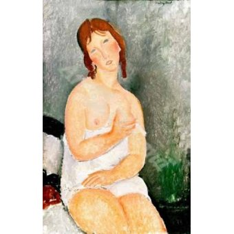 quadros nu artistico - Quadro -Jeune femme assise- - Modigliani, Amedeo