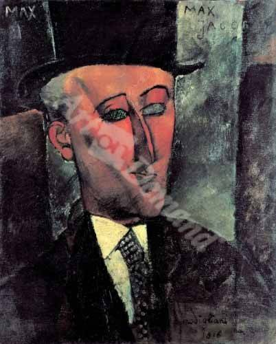 pinturas-de-retratos - Quadro -Portrait de Max Jacob- - Modigliani, Amedeo