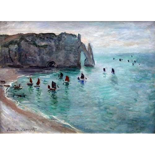 pinturas de paisagens marinhas - Quadro -Etretat the Aval door fishing boats leaving the harbour, 1819-