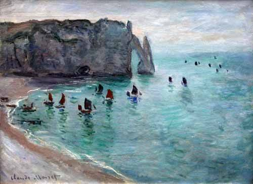 quadros-de-paisagens-marinhas - Quadro -Etretat the Aval door fishing boats leaving the harbour, 1819- - Monet, Claude
