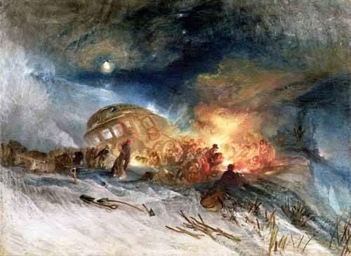 quadros-de-paisagens - Quadro -Travellers in a Snowdrift- - Turner, Joseph M. William