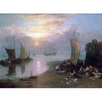 quadros de paisagens marinhas - Quadro -Sun Rising Through Vapour Fishermen Cleaning and Selling Fish, - Turner, Joseph M. William