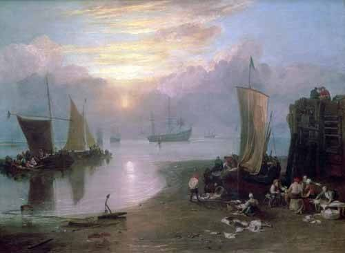 quadros-de-paisagens-marinhas - Quadro -Sun Rising Through Vapour Fishermen Cleaning and Selling Fish, - Turner, Joseph M. William