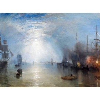 quadros de paisagens marinhas - Quadro -Keelmen heaving in coals by night- - Turner, Joseph M. William