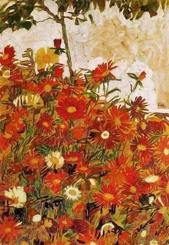 decorative paintings - Picture -Campo de flores- - Schiele, Egon