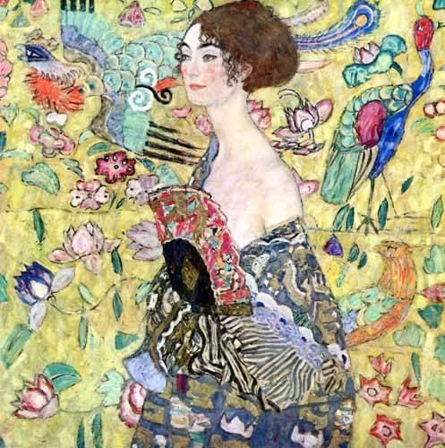 pinturas-de-retratos - Quadro -Mulher com um fã, 1918- - Klimt, Gustav