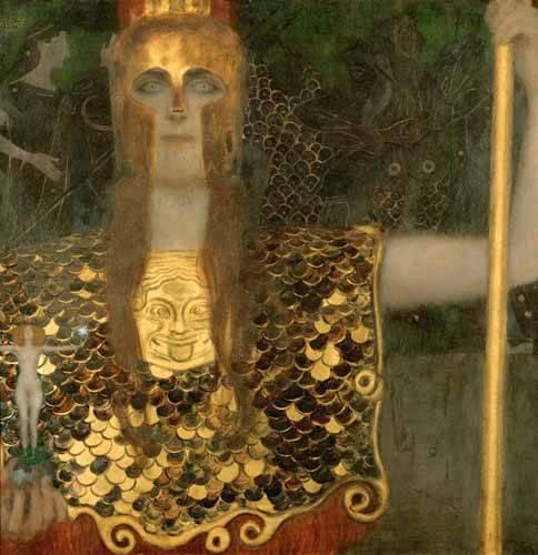pinturas-de-retratos - Quadro -Palas Atenea- - Klimt, Gustav