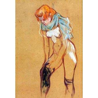 quadros nu artistico - Quadro -Mujer quitándose las medias- - Toulouse-Lautrec, Henri de