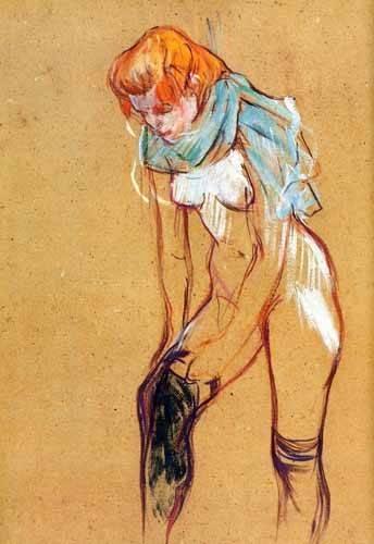 cuadros decorativos - Cuadro -Mujer quitándose las medias- - Toulouse-Lautrec, Henri de