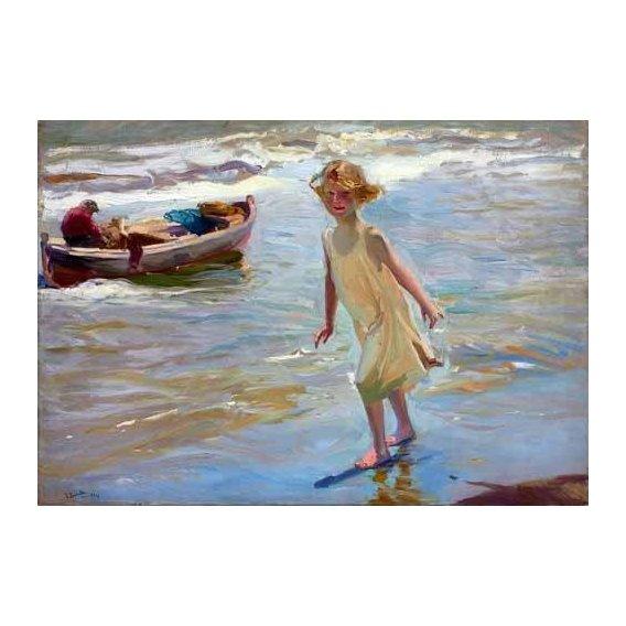 pinturas do retrato - Quadro -Niña caminando por la playa-
