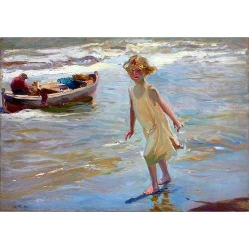 Quadro -Niña caminando por la playa-