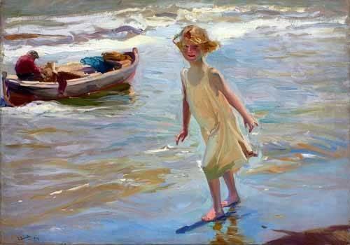 pinturas-de-retratos - Quadro -Niña caminando por la playa- - Sorolla, Joaquin