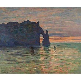 quadros de paisagens marinhas - Quadro -Puesta de sol en Etretat, 1883- - Monet, Claude