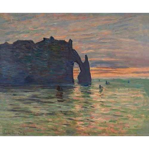 pinturas de paisagens marinhas - Quadro -Puesta de sol en Etretat, 1883-