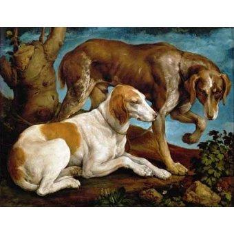 cuadros de fauna - Cuadro -Dos perros de caza- - Bassano, Jacopo da Ponte