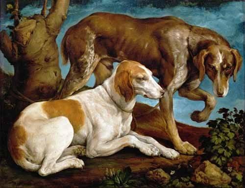 quadros-de-animais - Quadro -Dos perros de caza- - Bassano, Jacopo da Ponte