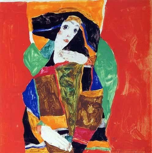 quadros-abstratos - Quadro -Portrait of a Woman- - Schiele, Egon