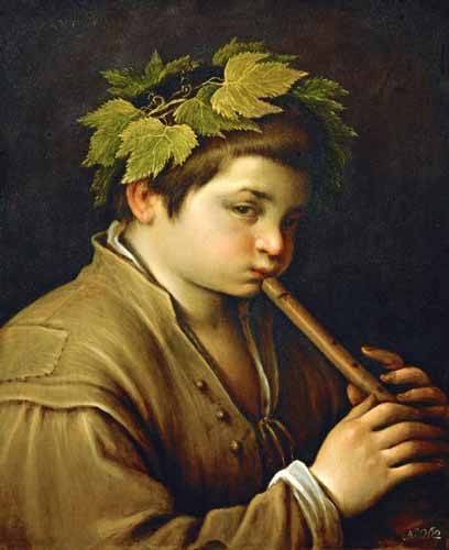 pinturas-de-retratos - Quadro -Boy with flute- - Bassano, Jacopo da Ponte