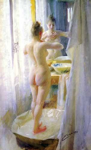decorative paintings - Picture -Mujer en la tina- - Zorn, Anders