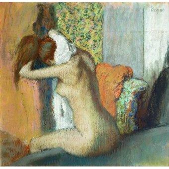 cuadros de desnudos - Cuadro -Mujer secandose el cuello, 1898- - Degas, Edgar