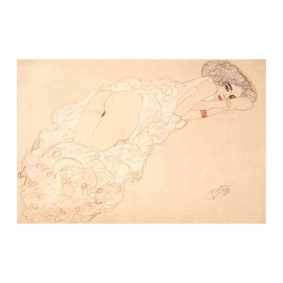 fotos nuas - Quadro -Reclining Nude Lying on Her Stomach and Facing Right, 1910-