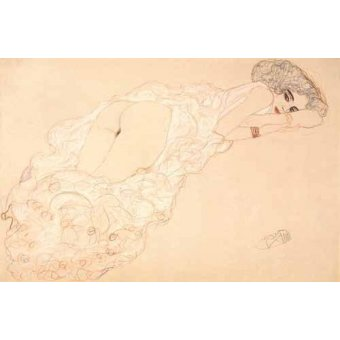 quadros nu artistico - Quadro -Reclining Nude Lying on Her Stomach and Facing Right, 1910- - Klimt, Gustav