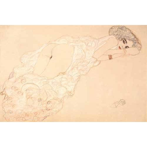 Quadro -Reclining Nude Lying on Her Stomach and Facing Right, 1910-