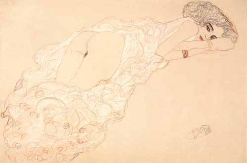 quadros-nu-artistico - Quadro -Reclining Nude Lying on Her Stomach and Facing Right, 1910- - Klimt, Gustav