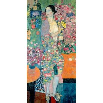 pinturas de retratos - Quadro -The Dancer, ca. 1916–18- - Klimt, Gustav