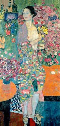 pinturas-de-retratos - Quadro -The Dancer, ca. 1916–18- - Klimt, Gustav