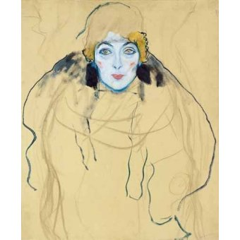 pinturas de retratos - Quadro -Head of a Woman- - Klimt, Gustav