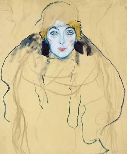 pinturas-de-retratos - Quadro -Head of a Woman- - Klimt, Gustav