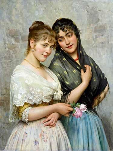 pinturas-de-retratos - Quadro -Mujeres venecianas- - Blaas, Eugen Von