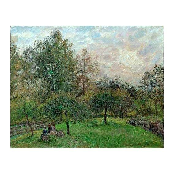 pinturas de paisagens - Quadro -Pommiers et peupliers au soleil couchant, 1901-