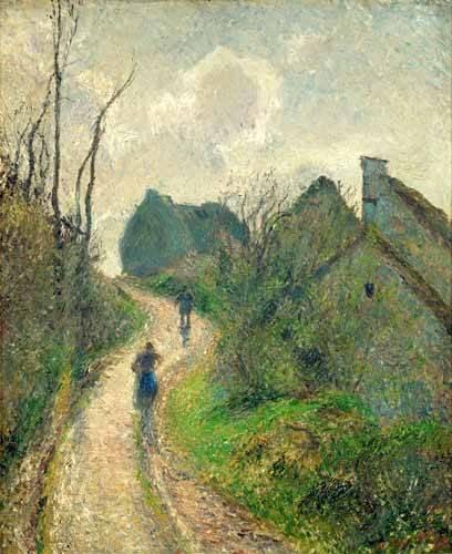 quadros-de-paisagens - Quadro -Sendero de la Ravinière, Osny, 1883- ó -Ascending Path in Osny- - Pissarro, Camille