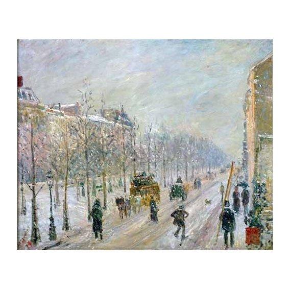pinturas de paisagens - Quadro -Les Boulevards exterieurs,effet de neige, 1879-