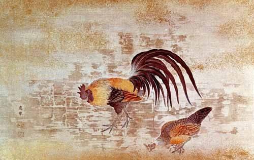 cuadros decorativos - Cuadro -Gallo y gallina- - _Anónimo Chino