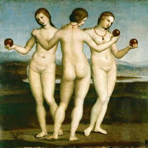 quadros-nu-artistico - Quadro -Las Tres Gracias- - Rafael, Sanzio da Urbino Raffael