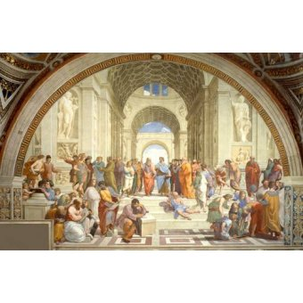 pinturas de retratos - Quadro -A Escola De Atenas- - Rafael, Sanzio da Urbino Raffael