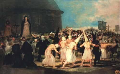 pinturas-de-retratos - Quadro -Procesion de flagelantes, 1815-19- - Goya y Lucientes, Francisco de