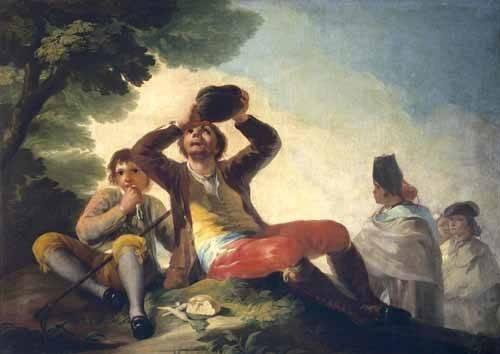 pinturas-de-retratos - Quadro -El bebedor, 1777- - Goya y Lucientes, Francisco de