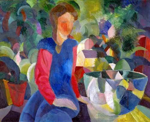 pinturas-de-retratos - Quadro -Jovencita con pecera- - Macke, August
