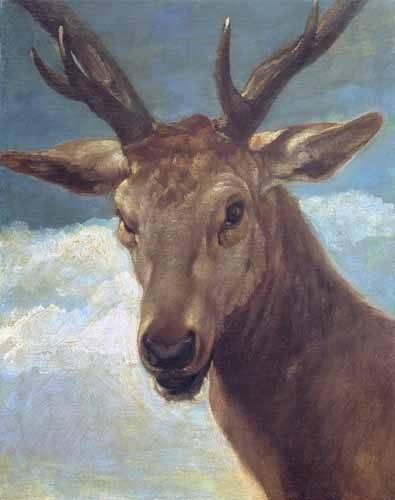 quadros-de-animais - Quadro -Cabeza de venado- (de caza) - Velazquez, Diego de Silva